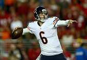 Quarterback Jay Cutler of the Chicago Bears drops back to pass against the San Francisco 49ers at Levi's Stadium on September 14 2014 in Santa Clara...
