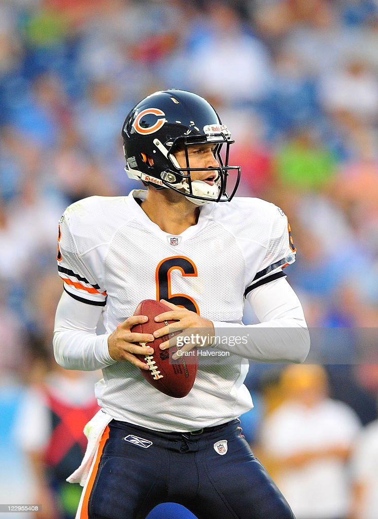 Quarterback <a gi-track='captionPersonalityLinkClicked' href=/galleries/search?phrase=Jay+Cutler&family=editorial&specificpeople=622249 ng-click='$event.stopPropagation()'>Jay Cutler</a> #6 of the Chicago Bears in action against the Tennessee Titans during a preseason game at LP Field on August 27, 2011 in Nashville, Tennessee. The Tennessee Titans defeated the Chicago Bears 14-13.