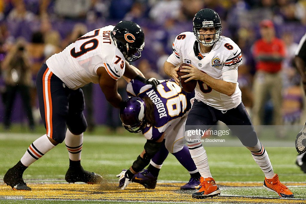 Quarterback <a gi-track='captionPersonalityLinkClicked' href=/galleries/search?phrase=Jay+Cutler&family=editorial&specificpeople=622249 ng-click='$event.stopPropagation()'>Jay Cutler</a> #6 of the Chicago Bears runs out of the pocket while playing the Minnesota Vikings at Mall of America Field on December 9, 2012 in Minneapolis, Minnesota.