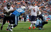 Quarterback Jay Cutler throws a pass against the Tennessee Titans at LP Field on November 4 2012 in Nashville Tennessee