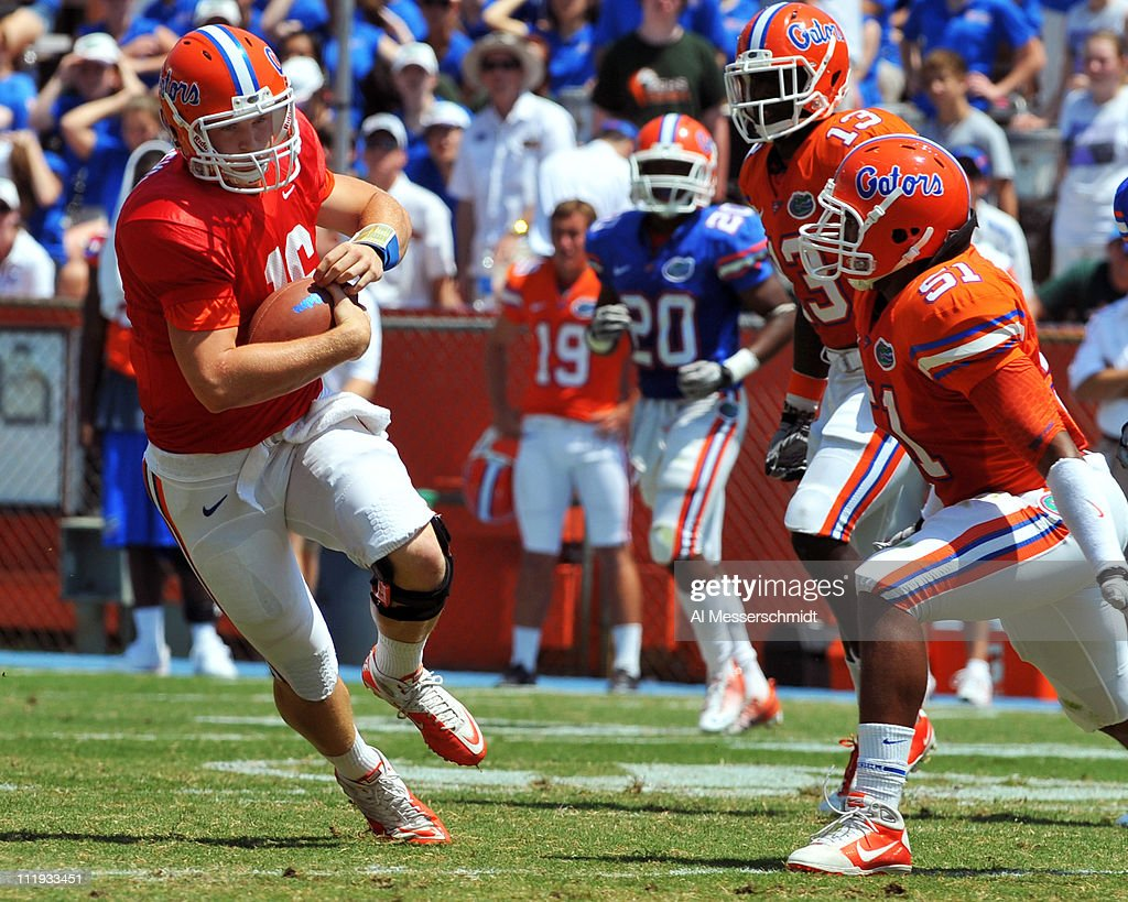 Quarterback Jeff Driskel #16 of the Florida Gators runs upfield during the Orange and Blue spring football game April 9, 2010 Ben Hill Griffin Stadium in Gainesville, Florida.