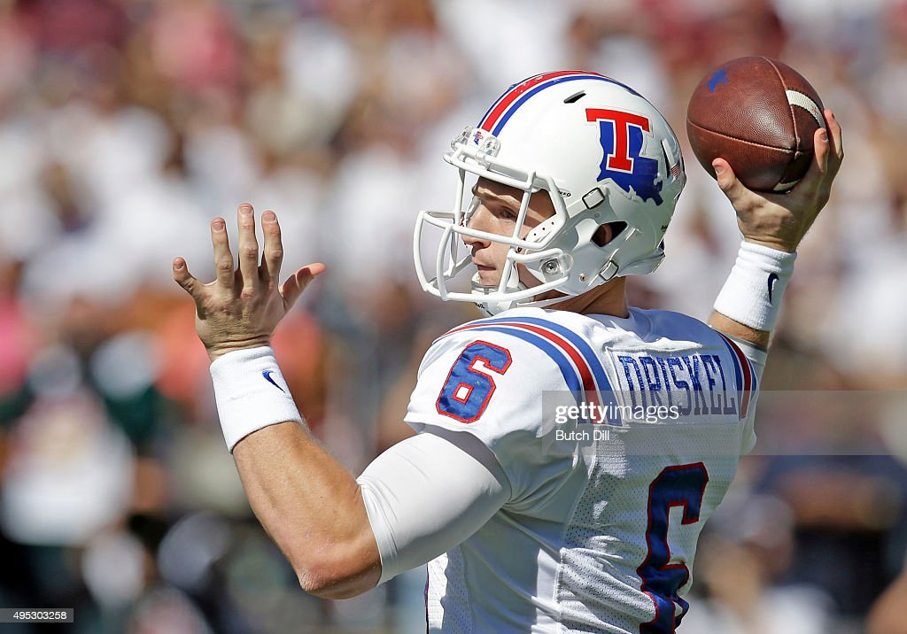 Quarterback <a gi-track='captionPersonalityLinkClicked' href=/galleries/search?phrase=Jeff+Driskel&family=editorial&specificpeople=7639913 ng-click='$event.stopPropagation()'>Jeff Driskel</a> #6 of the Louisiana Tech Bulldogs throws a pass during the first quarter of an NCAA college football game against the Mississippi State Bulldogs at Davis Wade Stadium on October 17, 2015 in Starkville, Mississippi.