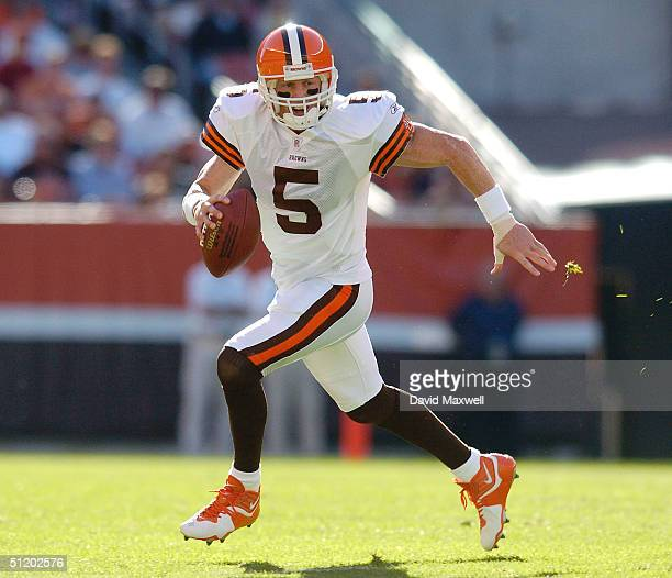 Quarterback Jeff Garcia of the Cleveland Browns carries the ball against the Detroit Lions during their preseason game on August 21 2004 at Cleveland...