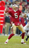 Quarterback Jeff Garcia of the San Francisco 49ers throws the ball downfield during the game against Seattle Seahawks on December 27 2003 at...