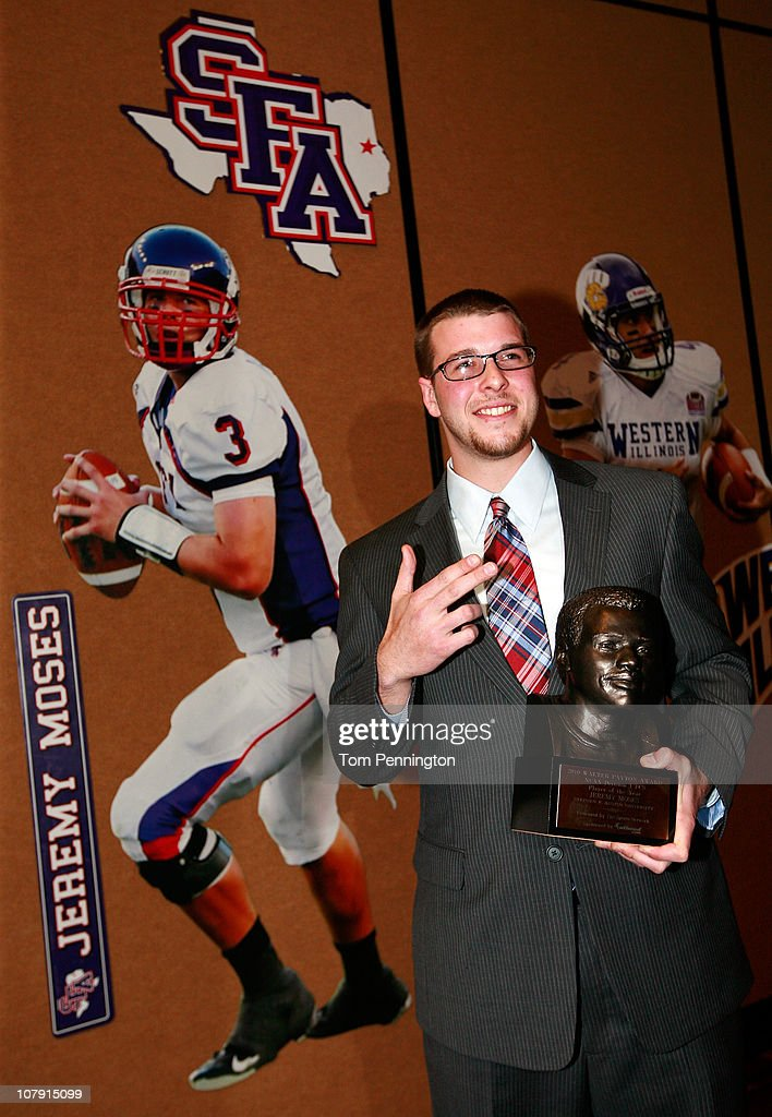 Quarterback Jeremy Moses of Stephen F. Austin University, celebrates after winning the 2010 Walter Payton Award during the 24th Annual Football Championship Subdivision Awards on January 6, 2011 in Frisco, Texas.
