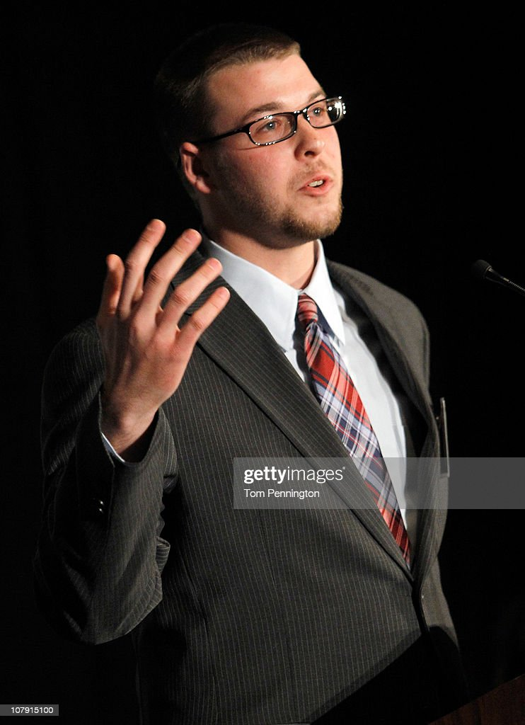 Quarterback Jeremy Moses of Stephen F. Austin University, gives his acceptance speech after winning the 2010 Walter Payton Award during the 24th Annual Football Championship Subdivision Awards on January 6, 2011 in Frisco, Texas.