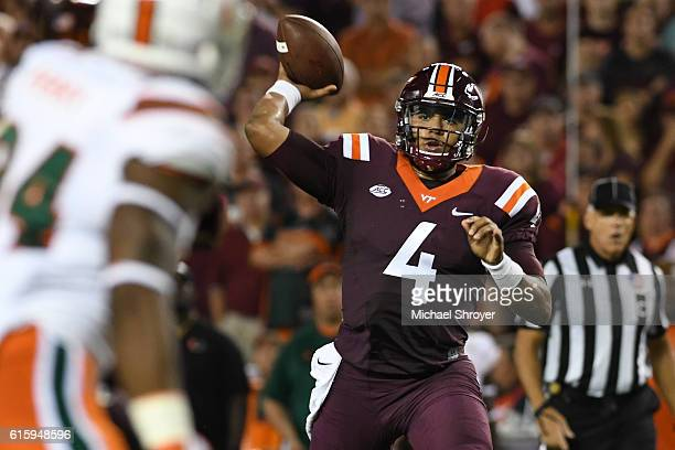 Quarterback Jerod Evans of the Virginia Tech Hokies throws against the Miami Hurricanes in the second half at Lane Stadium on October 20 2016 in...