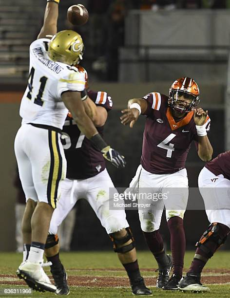 Quarterback Jerod Evans of the Virginia Tech Hokies throws against the Georgia Tech Yellow Jackets at Lane Stadium on November 12 2016 in Blacksburg...