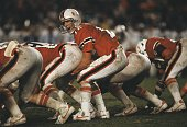 Quarterback Jim Kelly of the University of Miami Hurricanes calling signals during a game against the Penn State Nittany Lions in November 1981 in...