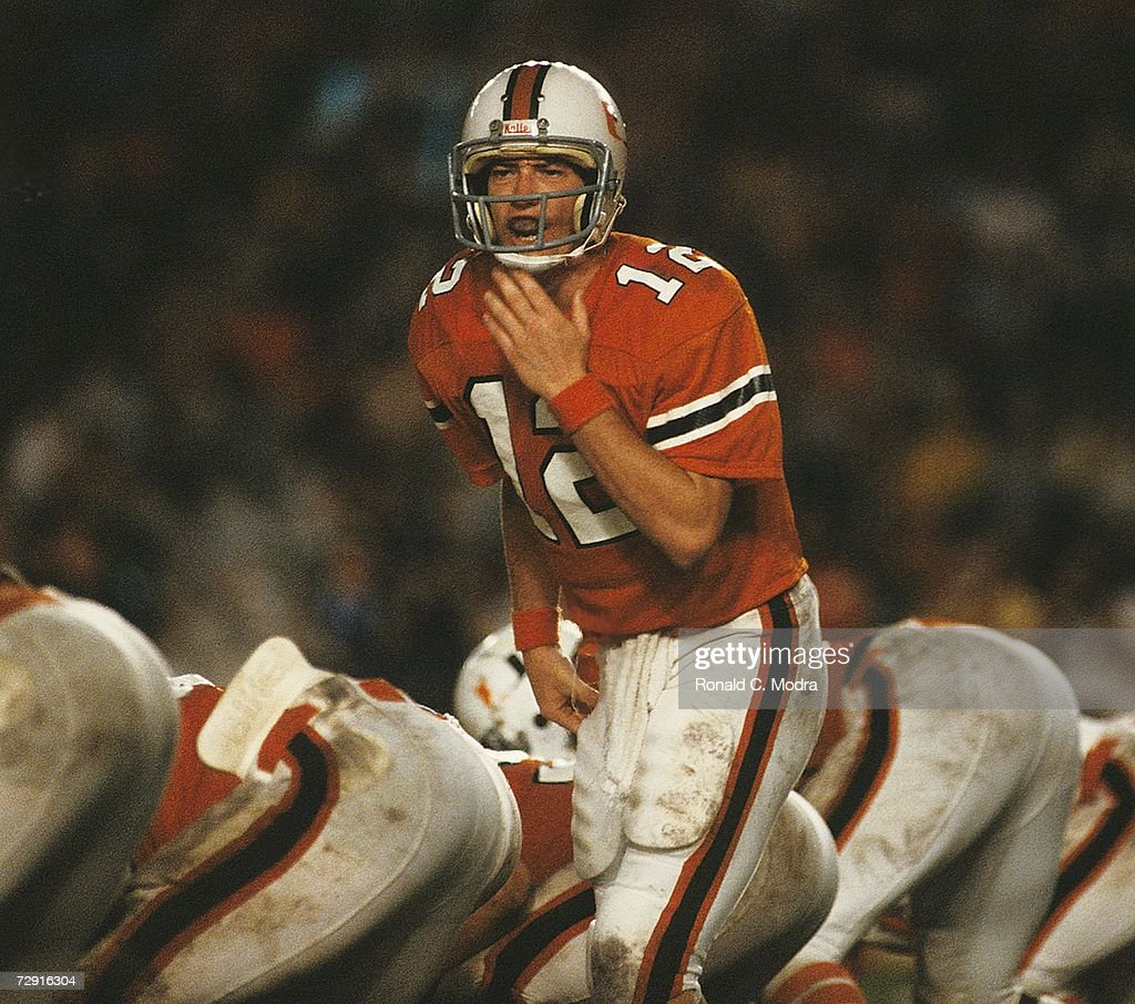 Quarterback Jim Kelly of the University of Miami Hurricanes during a game against the Penn State Nittany Lions in November 1981 in Miami Florida