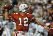 Quarterback Jim Kelly of the University of Miami Hurricanes passing during a game against the Penn State Nittany Lions in November 1981 in Miami...
