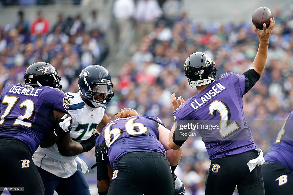 Quarterback <a gi-track='captionPersonalityLinkClicked' href=/galleries/search?phrase=Jimmy+Clausen&family=editorial&specificpeople=4480040 ng-click='$event.stopPropagation()'>Jimmy Clausen</a> #2 of the Baltimore Ravens passes the ball while teammates guard <a gi-track='captionPersonalityLinkClicked' href=/galleries/search?phrase=Kelechi+Osemele&family=editorial&specificpeople=7215093 ng-click='$event.stopPropagation()'>Kelechi Osemele</a> #72 and center <a gi-track='captionPersonalityLinkClicked' href=/galleries/search?phrase=Ryan+Jensen&family=editorial&specificpeople=234524 ng-click='$event.stopPropagation()'>Ryan Jensen</a> #66 block against defensive tackle <a gi-track='captionPersonalityLinkClicked' href=/galleries/search?phrase=Ahtyba+Rubin&family=editorial&specificpeople=5085143 ng-click='$event.stopPropagation()'>Ahtyba Rubin</a> #77 of the Seattle Seahawks in the first quarter at M&T Bank Stadium on December 13, 2015 in Baltimore, Maryland.