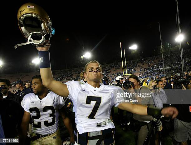 Quarterback Jimmy Clausen of the Notre Dame Fighting Irish celebrates after their game with the UCLA Bruins at the Rose Bowl October 6 2007 in...