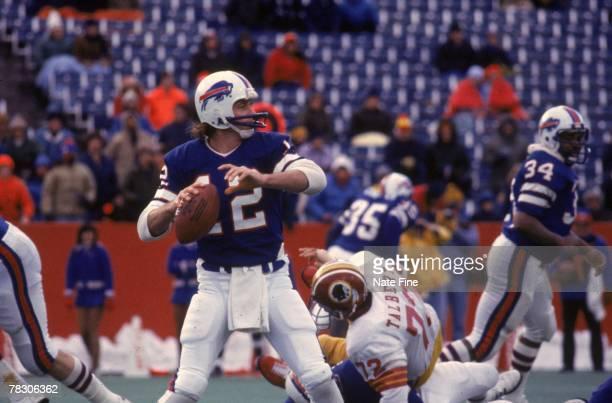 Quarterback Joe Ferguson of the Buffalo Bills drops back to pass against the Washington Redskins on December 4 1977 at Rich Stadium in Buffalo New...
