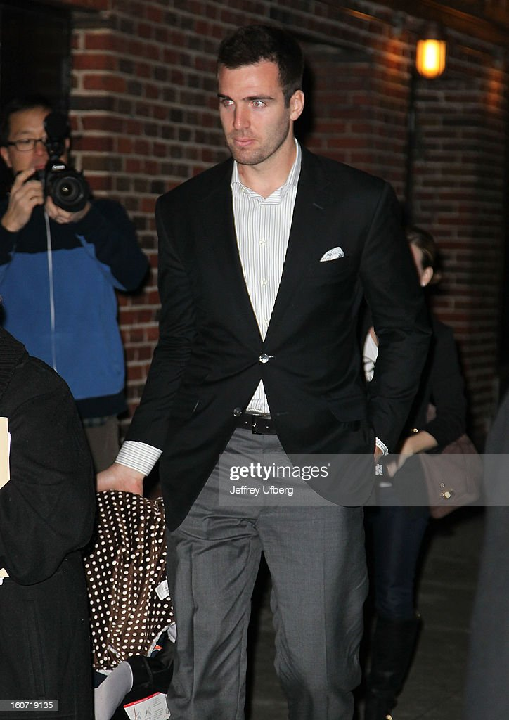 Quarterback Joe Flacco arrives to 'Late Show with David Letterman' at Ed Sullivan Theater on February 4, 2013 in New York City.