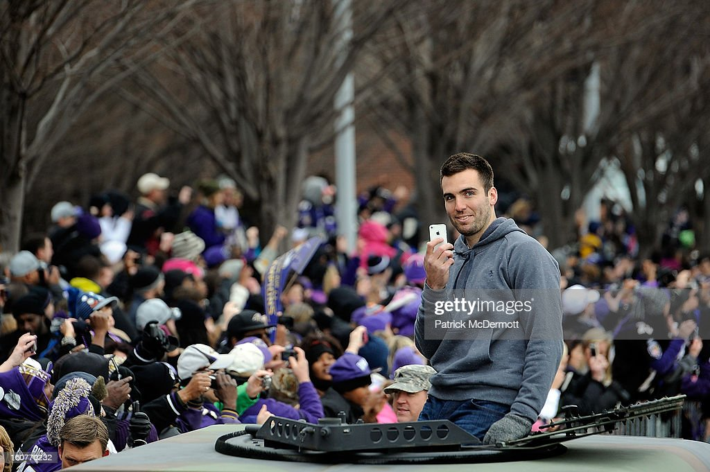 Quarterback Joe Flacco #5 of the Baltimore Ravens celebrates with his teammates as they celebrate during their Super Bowl XLVII victory parade at M&T Bank Stadium on February 5, 2013 in Baltimore, Maryland. The Baltimore Ravens captured their second Super Bowl title by defeating the San Francisco 49ers.