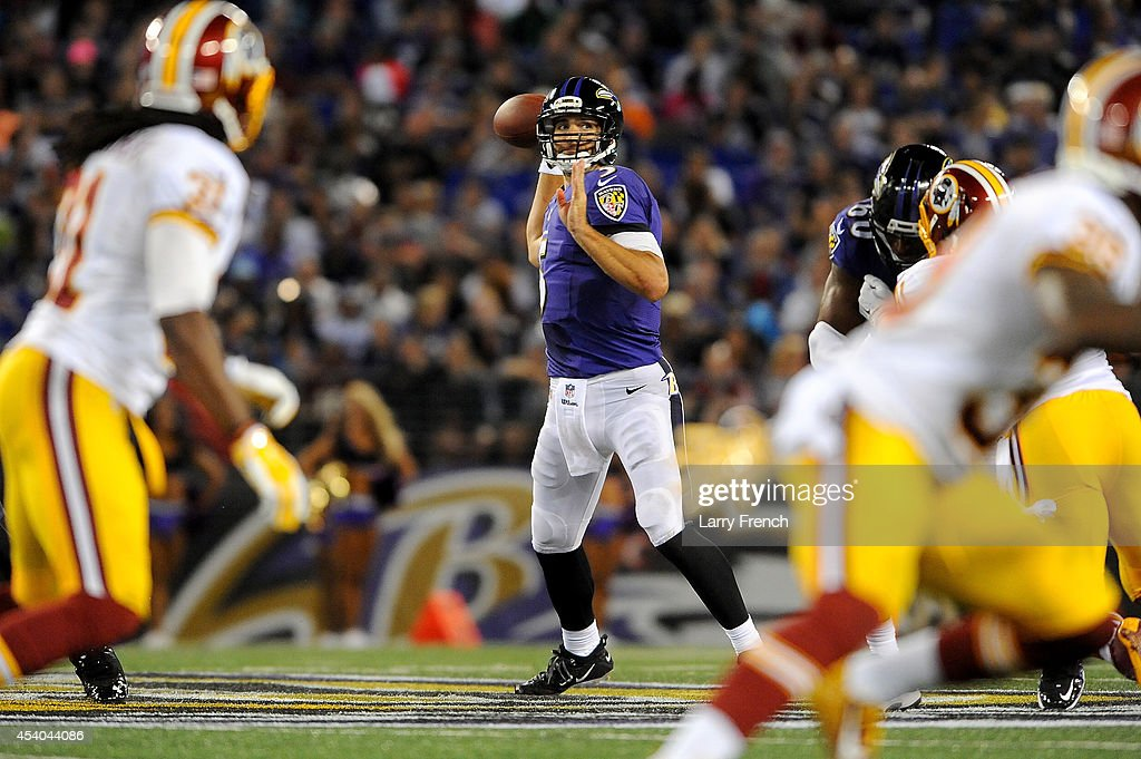 Quarterback Joe Flacco #5 of the Baltimore Ravens drops back to pass during a preseason game against the Washington Redskins at M&T Bank Stadium on August 23, 2014 in Baltimore, Maryland.