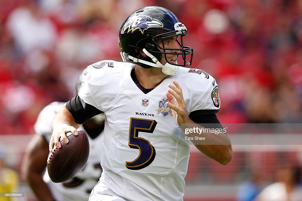 Quarterback <a gi-track='captionPersonalityLinkClicked' href=/galleries/search?phrase=Joe+Flacco&family=editorial&specificpeople=4645672 ng-click='$event.stopPropagation()'>Joe Flacco</a> #5 of the Baltimore Ravens looks to pass the ball against the San Francisco 49ers during their NFL game at Levi's Stadium on October 18, 2015 in Santa Clara, California.