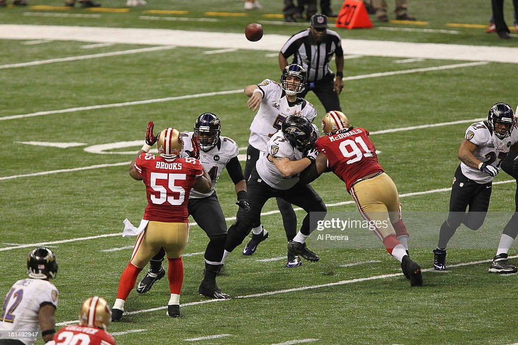 Quarterback Joe Flacco #5 of the Baltimore Ravens passes the ball against the San Francisco 49ers during Super Bowl XLVII at Mercedes-Benz Superdome on February 3, 2013 in New Orleans, Louisiana.