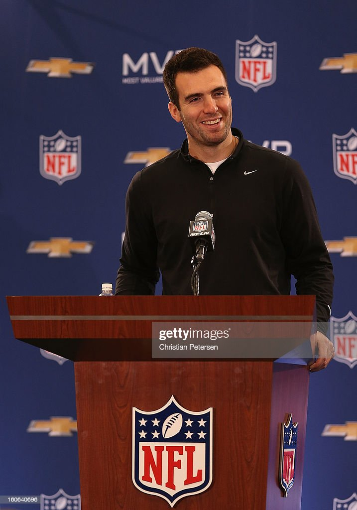 Quarterback Joe Flacco of the Baltimore Ravens speaks during the Super Bowl XLVII Team Winning Coach and MVP Press Conference at the Ernest N. Morial Convention Center on February 4, 2013 in New Orleans, Louisiana.