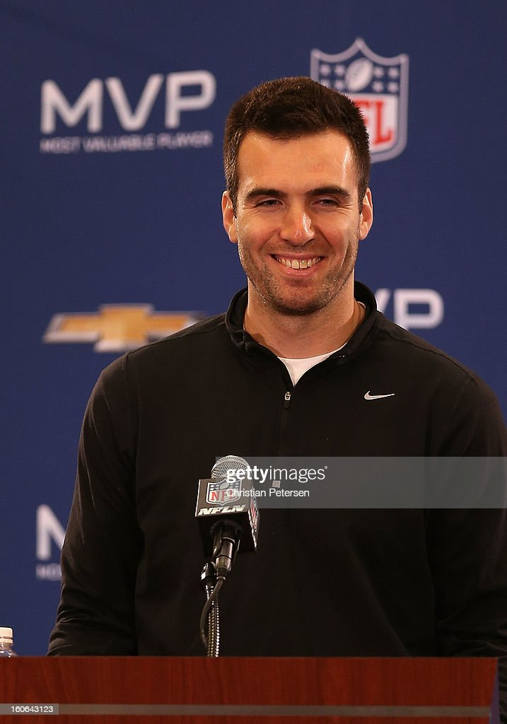 Quarterback <a gi-track='captionPersonalityLinkClicked' href=/galleries/search?phrase=Joe+Flacco&family=editorial&specificpeople=4645672 ng-click='$event.stopPropagation()'>Joe Flacco</a> of the Baltimore Ravens speaks during the Super Bowl XLVII Team Winning Coach and MVP Press Conference at the Ernest N. Morial Convention Center on February 4, 2013 in New Orleans, Louisiana.