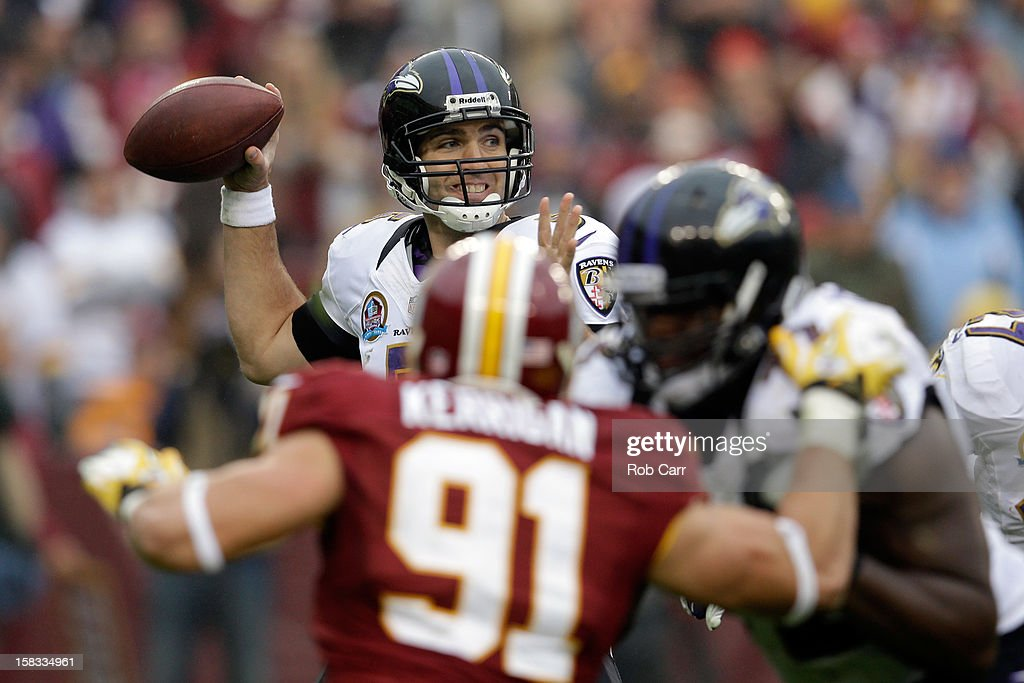 Quarterback Joe Flacco #5 of the Baltimore Ravens throws a pass against the Washington Redskins at FedExField on December 9, 2012 in Landover, Maryland.