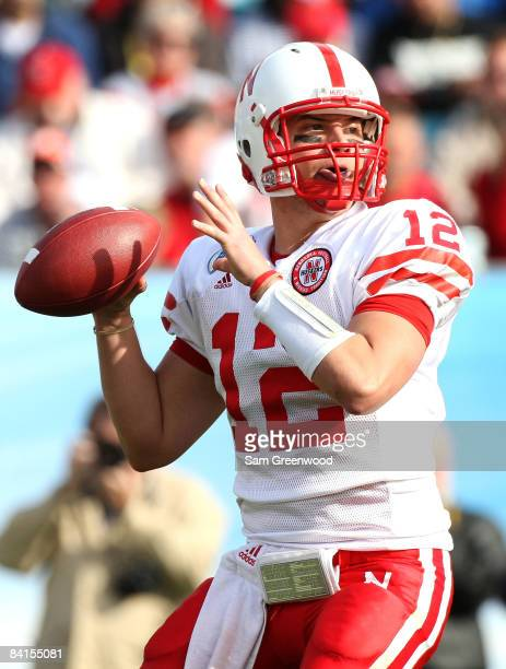 Quarterback Joe Ganz of the Nebraska Cornhuskers attempts a pass during the Konica Minolta Gator Bowl against the Clemson Tigers at Jacksonville...