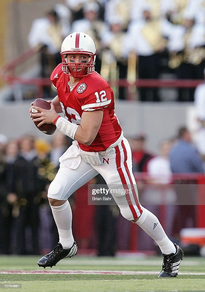 Quarterback Joe Ganz #12 of the Nebraska Cornhuskers moves with the ball during the game against the Colorado Buffaloes on November 24, 2006 at Memorial Stadium in Lincoln, Nebraska. Nebraska won 37-14.