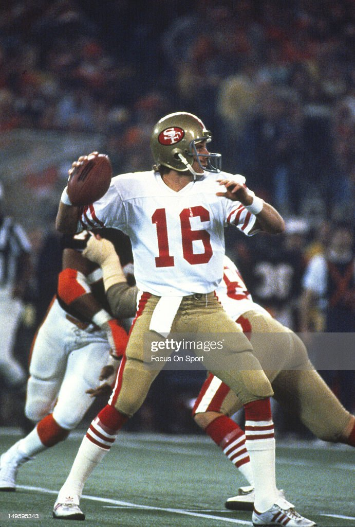 Quarterback Joe Montana #16 of the San Francisco 49ers drops back to pass against the Cincinnati Bengals during Super Bowl XVI on January 24, 1982 at the Silverdome in Pontiac, Michigan. The Niners won the Super Bowl 26 -21 and Montana was the games MVP.