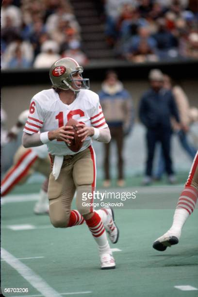 Quarterback Joe Montana of the San Francisco 49ers drops back to pass against the Cincinnati Bengals at Riverfront Stadium December 6 1981 in...