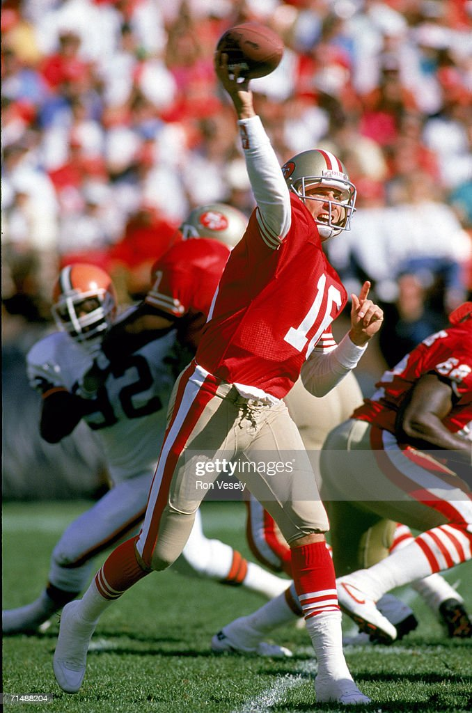 Quarterback Joe Montana #16 of the San Francisco 49ers passes against the Cleveland Browns at Candlestick Park on October 28, 1990 in San Francisco, California. The Niners defeated the Browns 24-20.