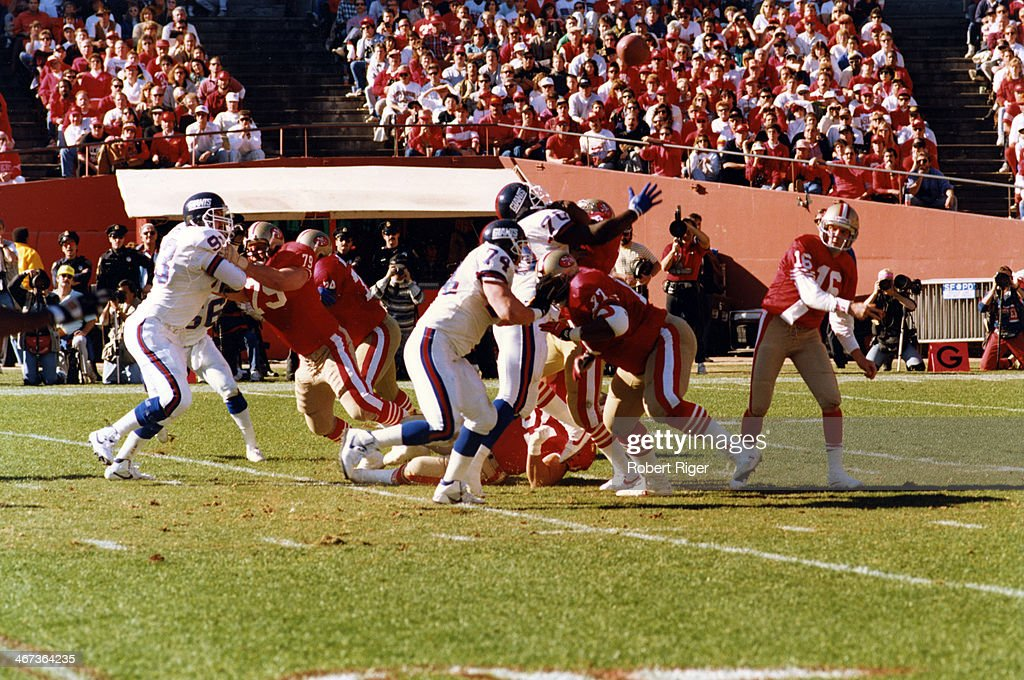 Quarterback Joe Montata #16 of the San Francisco 49ers throws the ball during the 1990 - 1991 NFC Championship Game against the New York Giants at Candlestick Park (now Monster Park), San Francisco, California, January 20, 1991.