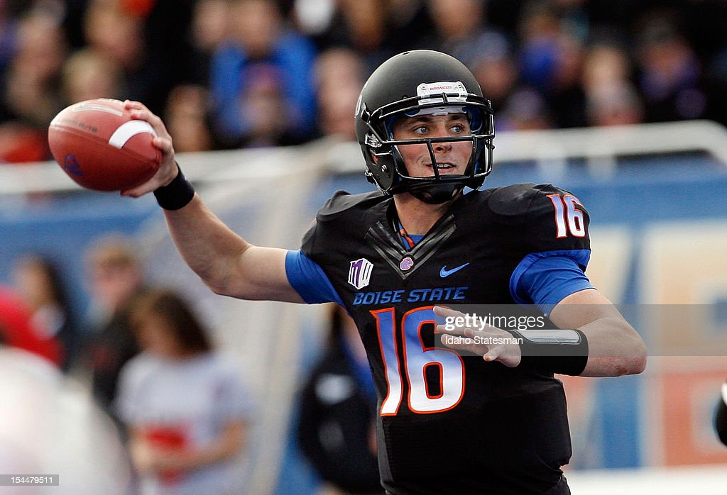 Quarterback Joe Southwick of Boise State looks for a receiver downfield against UNLV on Saturday October 20 at Bronco Stadium in Boise Idaho Boise...