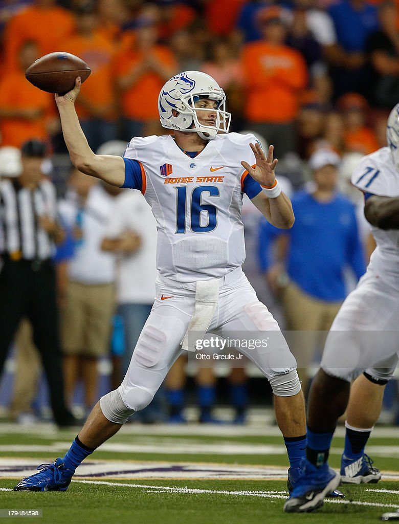 Quarterback Joe Southwick of the Boise State Broncos passes against the Washington Huskies on August 31 2013 at Husky Stadium in Seattle Washington