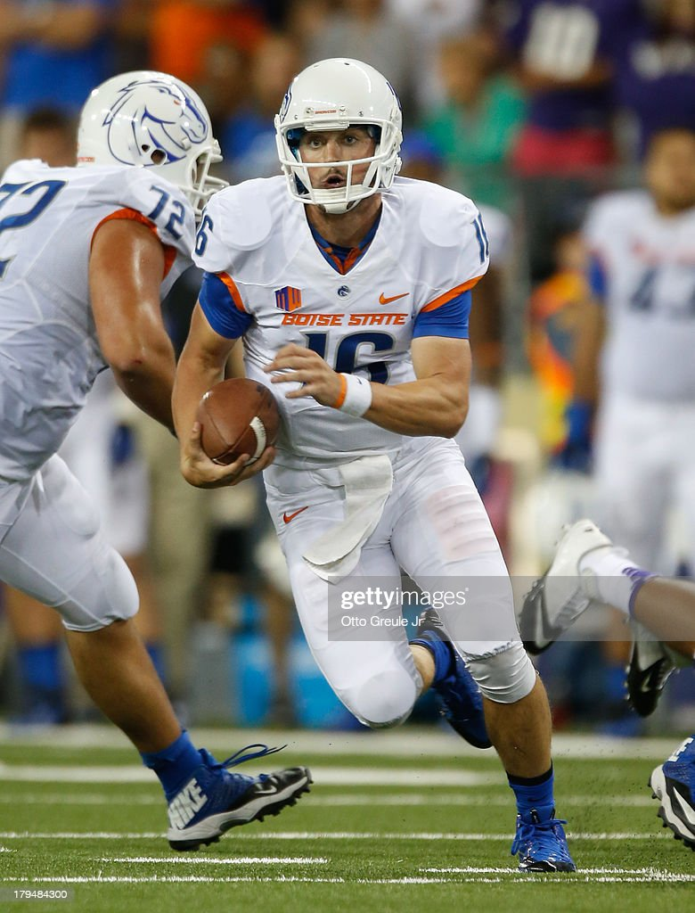 Quarterback Joe Southwick of the Boise State Broncos rushes against the Washington Huskies on August 31 2013 at Husky Stadium in Seattle Washington