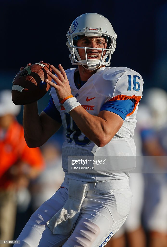 Quarterback <a gi-track='captionPersonalityLinkClicked' href=/galleries/search?phrase=Joe+Southwick&family=editorial&specificpeople=7159939 ng-click='$event.stopPropagation()'>Joe Southwick</a> #16 of the Boise State Broncos warms up prior to the game against the Washington Huskies on August 31, 2013 at Husky Stadium in Seattle, Washington.