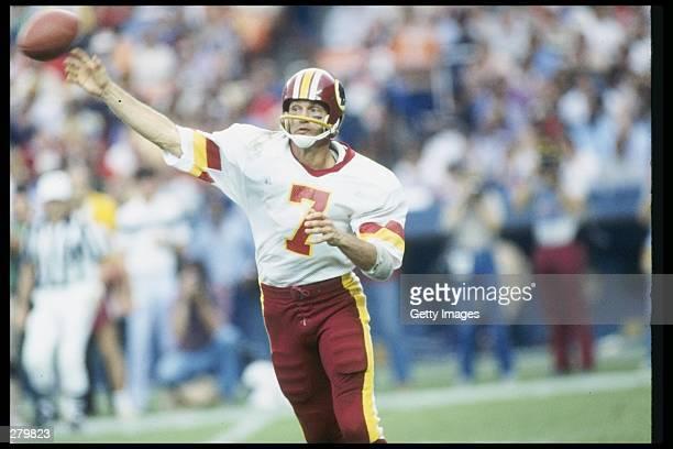 Quarterback Joe Theismann of the Washington Redskins passes the ball during a game Mandatory Credit Allsport /Allsport