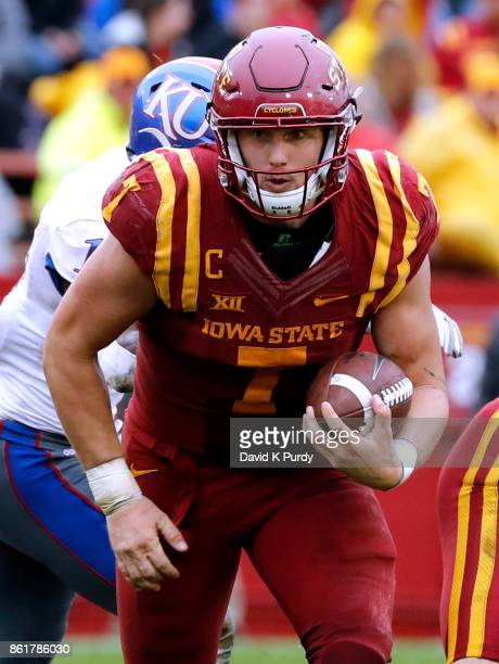Quarterback Joel Lanning of the Iowa State Cyclones scrambles for yards in the second half of play against the Kansas Jayhawks at Jack Trice Stadium...
