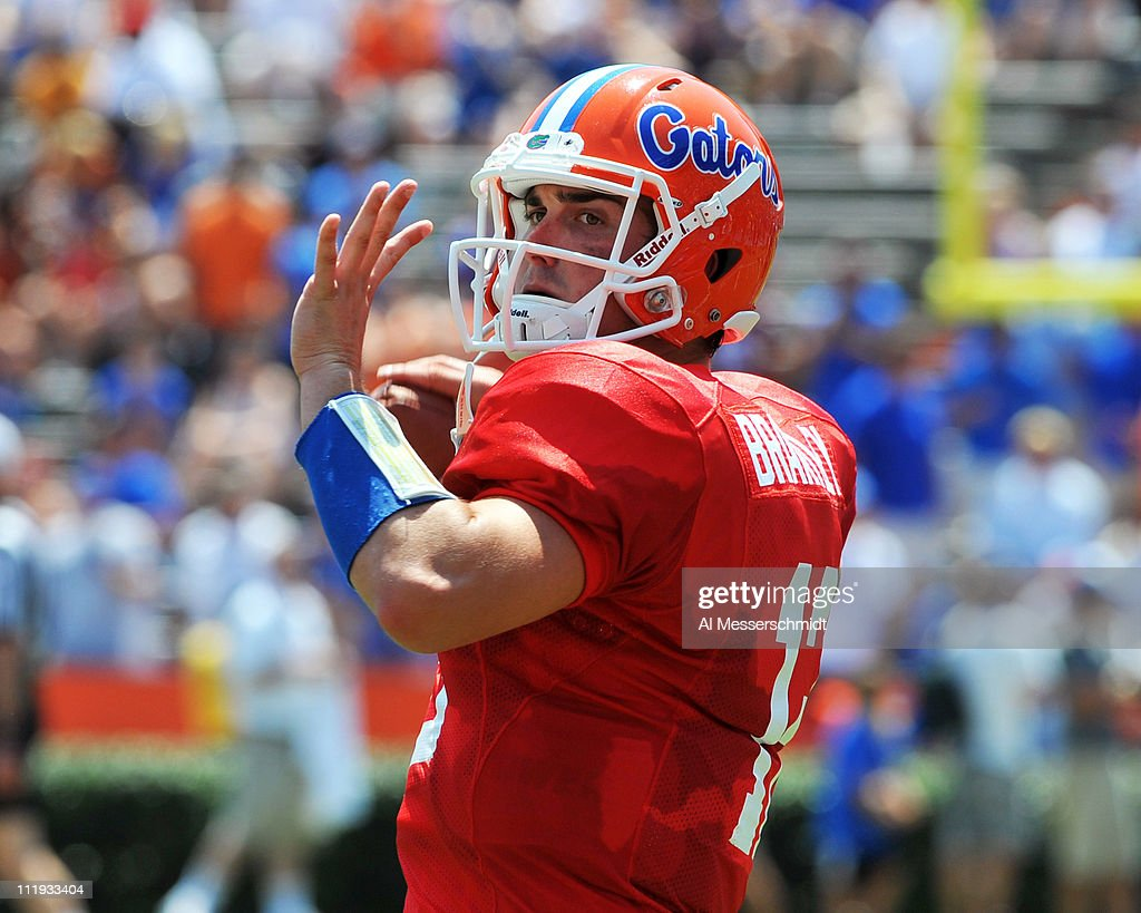 Quarterback John Brantley #12 of the Florida Gators sets to pass during the Orange and Blue spring football game April 9, 2010 Ben Hill Griffin Stadium in Gainesville, Florida.