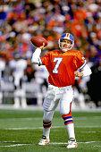 Quarterback John Elway of the Denver Broncos passes against the Baltimore Ravens at Mile High Stadium on October 20 1996 in Denver Colorado The...