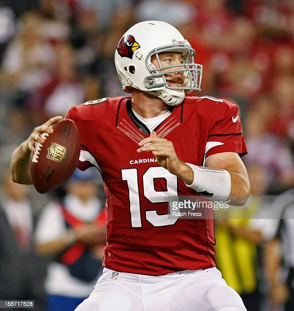 Quarterback John Skelton of the Arizona Cardinals drops back to pass against the San Francisco 49ers during the third quarter of an NFL game at...