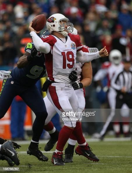 Quarterback John Skelton of the Arizona Cardinals passes against the Seattle Seahawks at CenturyLink Field on December 9 2012 in Seattle Washington