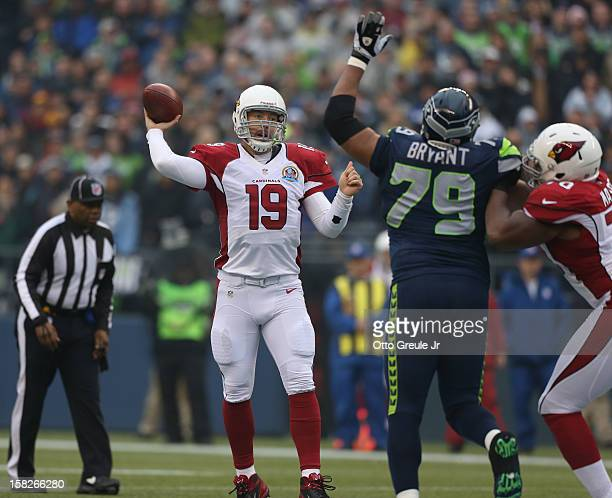 Quarterback John Skelton of the Arizona Cardinals passes against the Seattle Seahawks at CenturyLink Field on December 9 2012 in Seattle Washington
