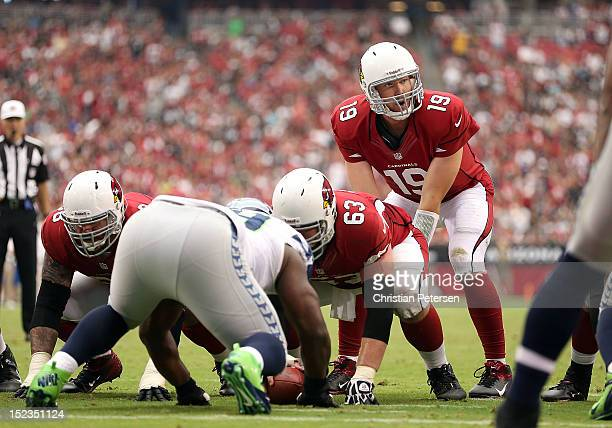 Quarterback John Skelton of the Arizona Cardinals prepares to snap the football during the season opener against the Seattle Seahawks at the...