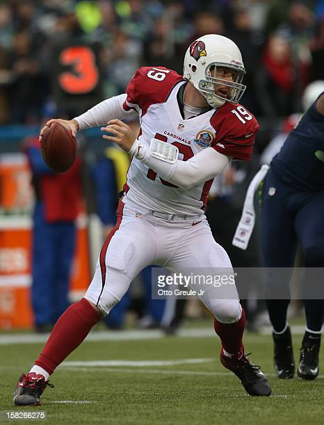 Quarterback John Skelton of the Arizona Cardinals scrambles against the Seattle Seahawks at CenturyLink Field on December 9 2012 in Seattle Washington