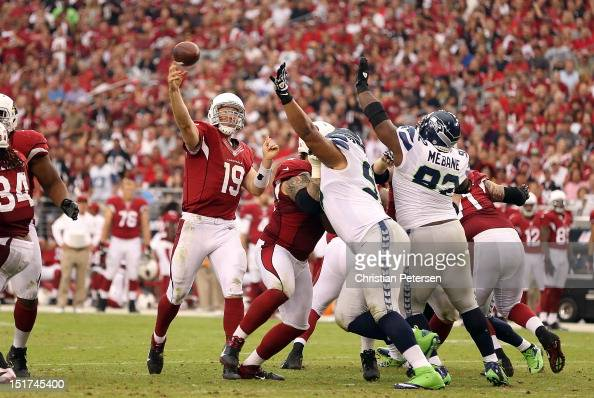 Quarterback John Skelton of the Arizona Cardinals throws a pass during the season opener against the Seattle Seahawks at the University of Phoenix...