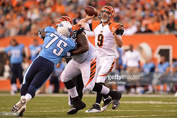Quarterback John Skelton of the Cincinnati Bengals throws a pass in the first half against the Tennessee Titans at Paul Brown Stadium on August 17...