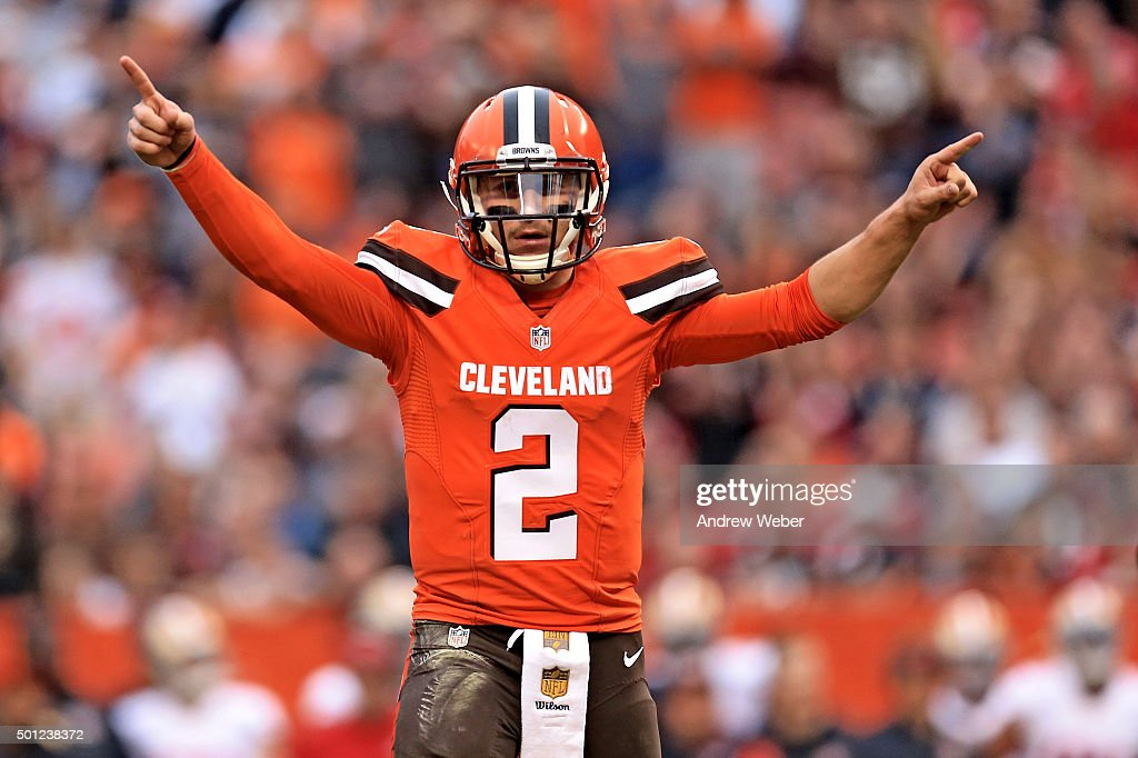 Quarterback <a gi-track='captionPersonalityLinkClicked' href=/galleries/search?phrase=Johnny+Manziel&family=editorial&specificpeople=9703372 ng-click='$event.stopPropagation()'>Johnny Manziel</a> #2 of the Cleveland Browns celebrates after a touchdown during the fourth quarter against the San Francisco 49ers at FirstEnergy Stadium on December 13, 2015 in Cleveland, Ohio.