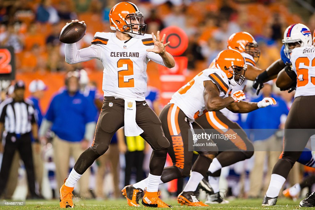 Quarterback <a gi-track='captionPersonalityLinkClicked' href=/galleries/search?phrase=Johnny+Manziel&family=editorial&specificpeople=9703372 ng-click='$event.stopPropagation()'>Johnny Manziel</a> #2 of the Cleveland Browns passes during the second half of a preseason game against the Buffalo Bills at FirstEnergy Stadium on August 20, 2015 in Cleveland, Ohio. The Bills defeated the Browns 11-10.