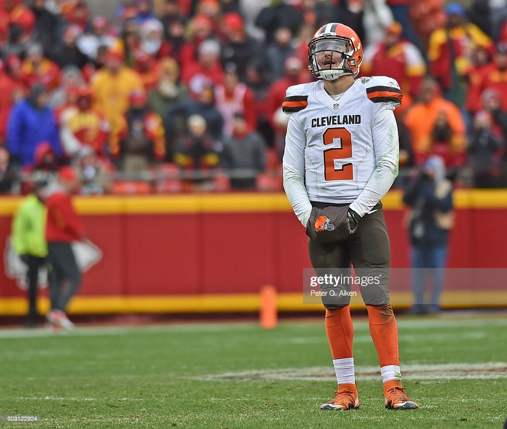 Quarterback Johnny Manziel of the Cleveland Browns reacts after turning the ball over on downs against the Kansas City Chiefs during the second half...